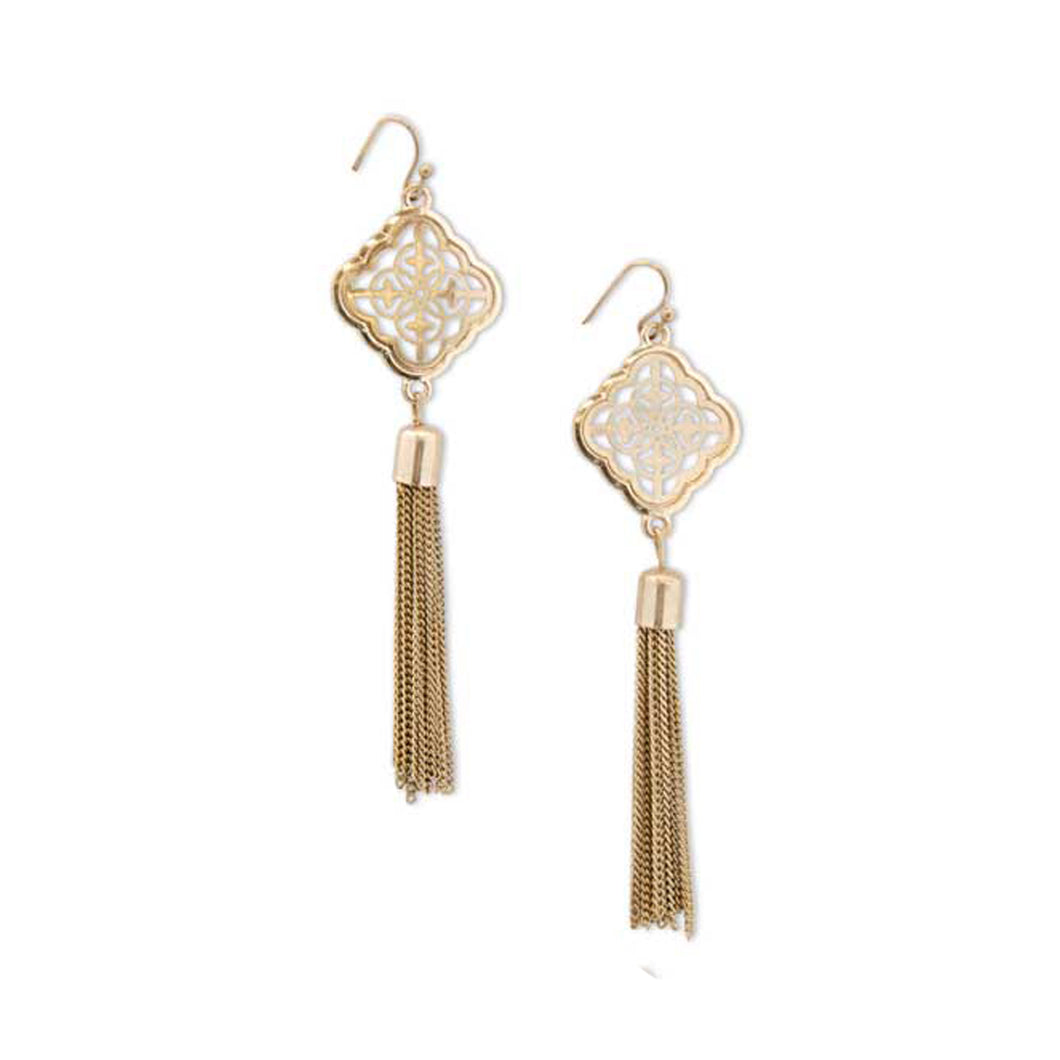 Gold Tassle Dangle Earrings