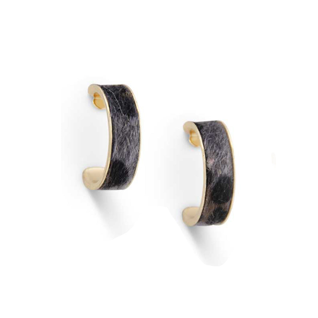 Gray Leopard Hoop Earrings