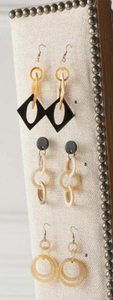 Black and Natural Diamond Shaped Horn Earrings