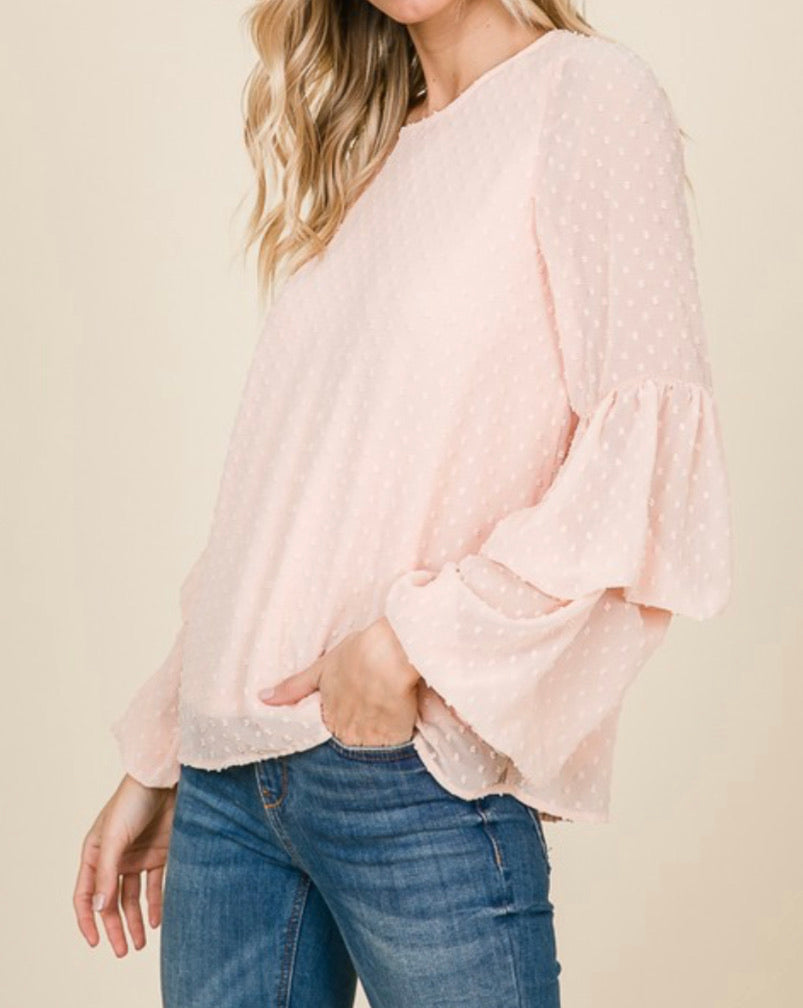 blush pink polka dot ruffled sleeves