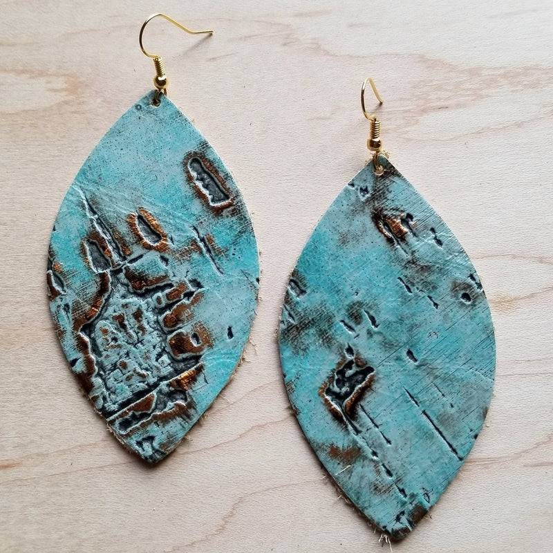 Leather Oval Earrings in Turquoise Metallic