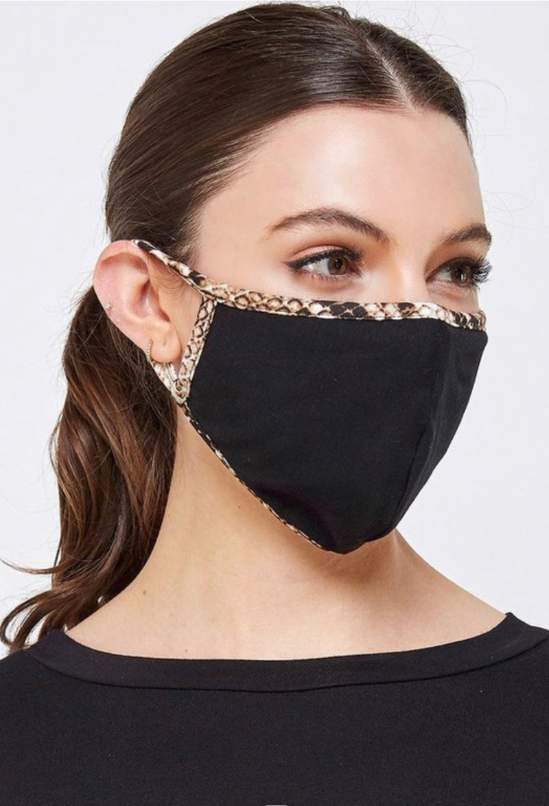 Face Mask Black with Leopard Trim