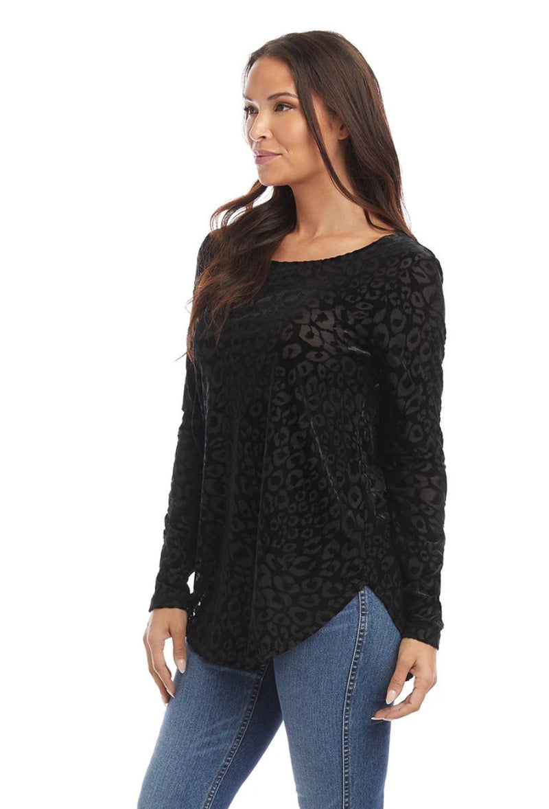 Velvet Burnout Shirttail Top