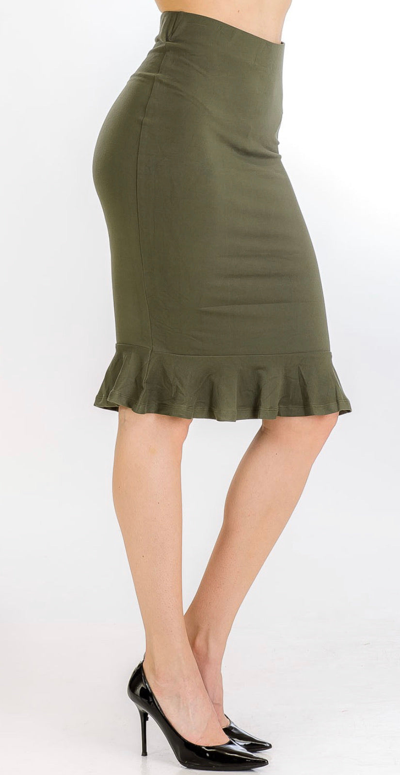 Olive Ruffle Pencil Skirt