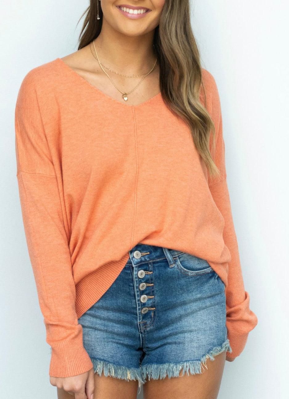 orange v-neck tunic