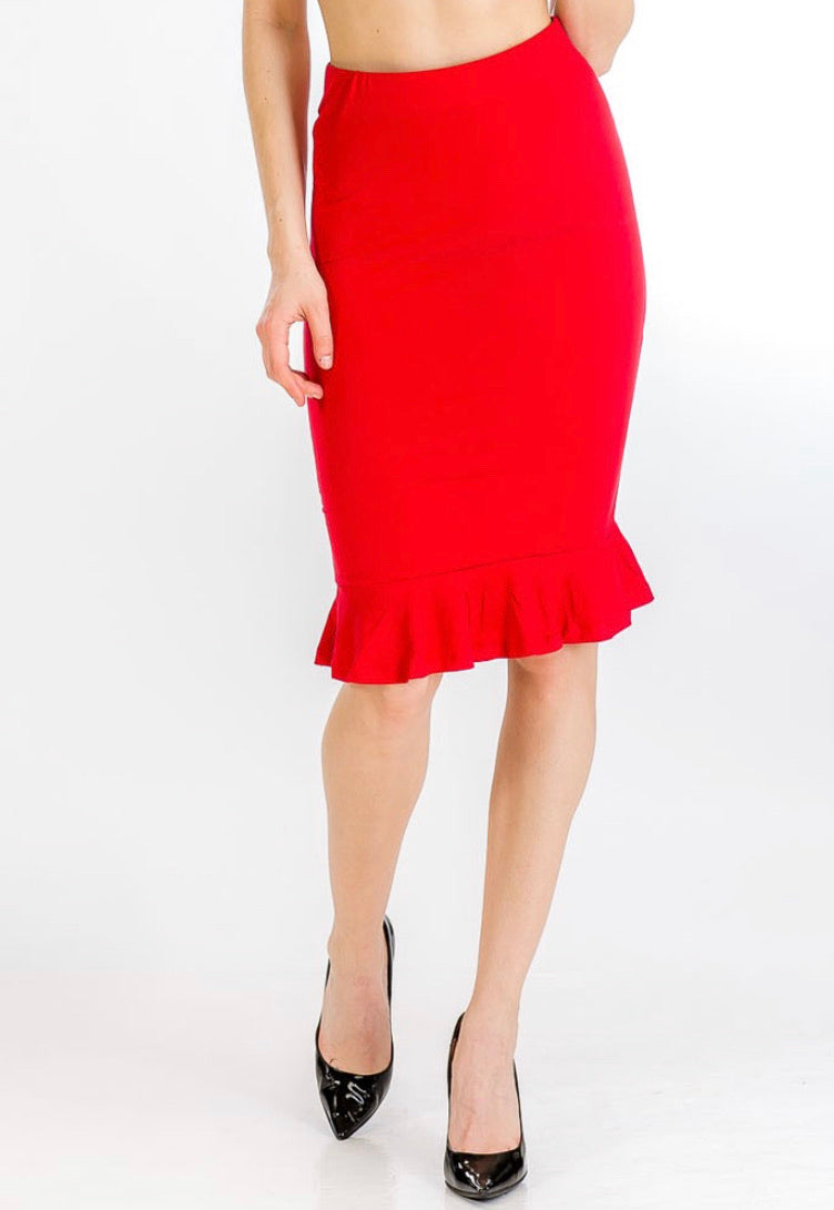 Red Ruffle Pencil Skirt