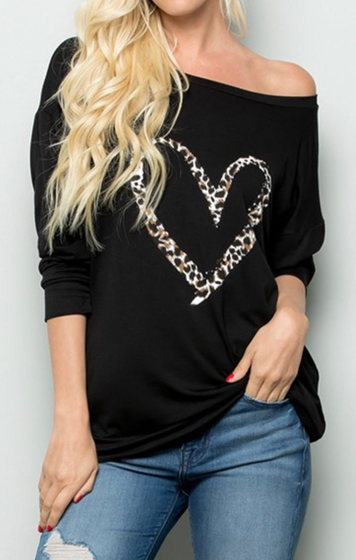 Black off the shoulder shirt with leopard print heart