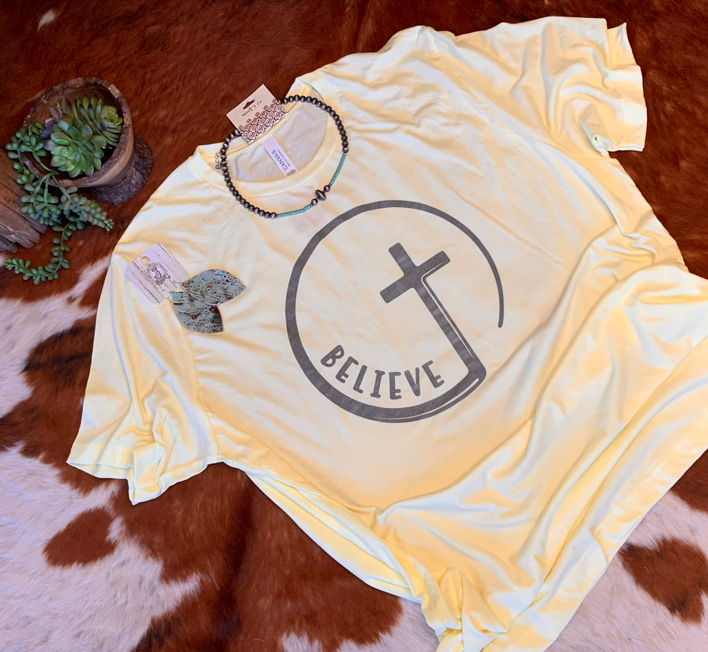 Yellow believe plus size t-shirt
