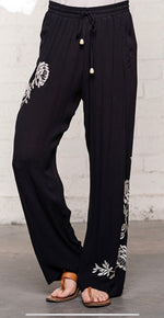 Black Rayon Crinkle Pant with ivory embroidery on legs