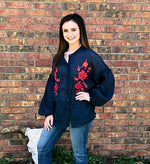 Navy Floral Embroidered Button Down Blouse