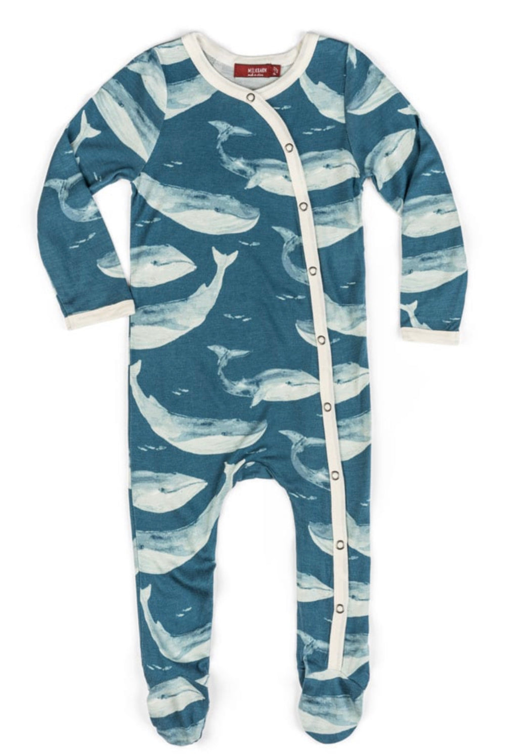 Bamboo footed baby romper in a blue whale print