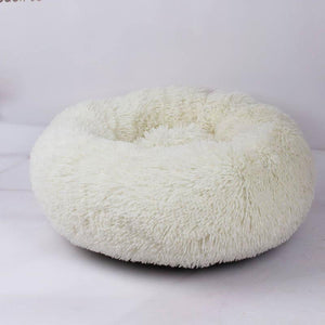 Shaggy Faux Fur Donut Cuddler Round Warm Plush Indoor Cat House Nest Dog Bed for Medium Dogs Machine Washable Water-Resistant