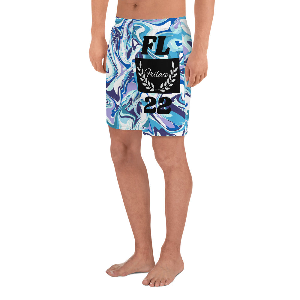 FRILACÈ Men's Athletic Blue Scribble Long Shorts