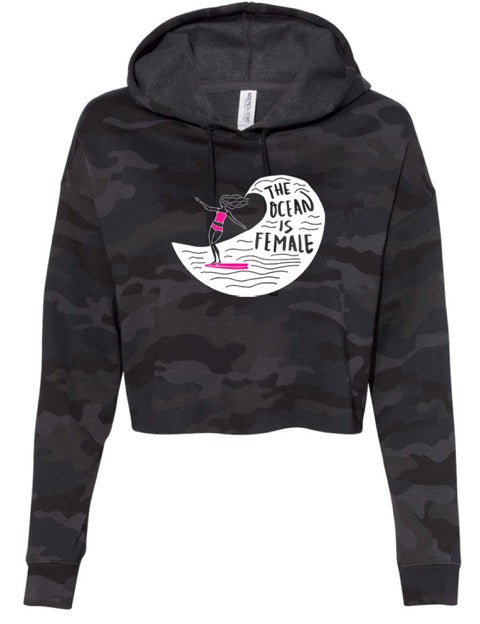 The Surfer Girl Cropped Camo Hoodie (Youth/Junior)