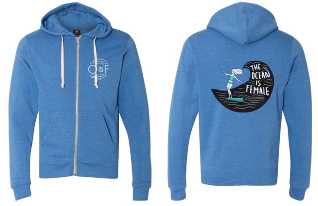 NEW! The OisF Zip-Up Hoodie (Women) - Aqua Surfer Girl
