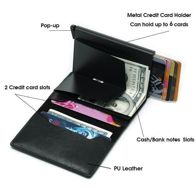RFID Protection Automatical Pop Up Antimagnetic Leather Card Wallet