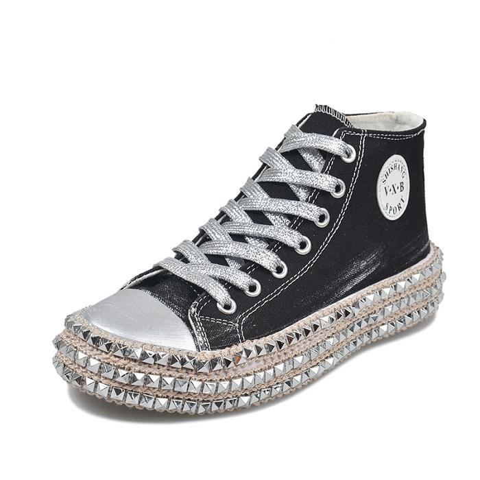 (Free shipping)Leopard Rivet Embellished Lace-Up Sneakers
