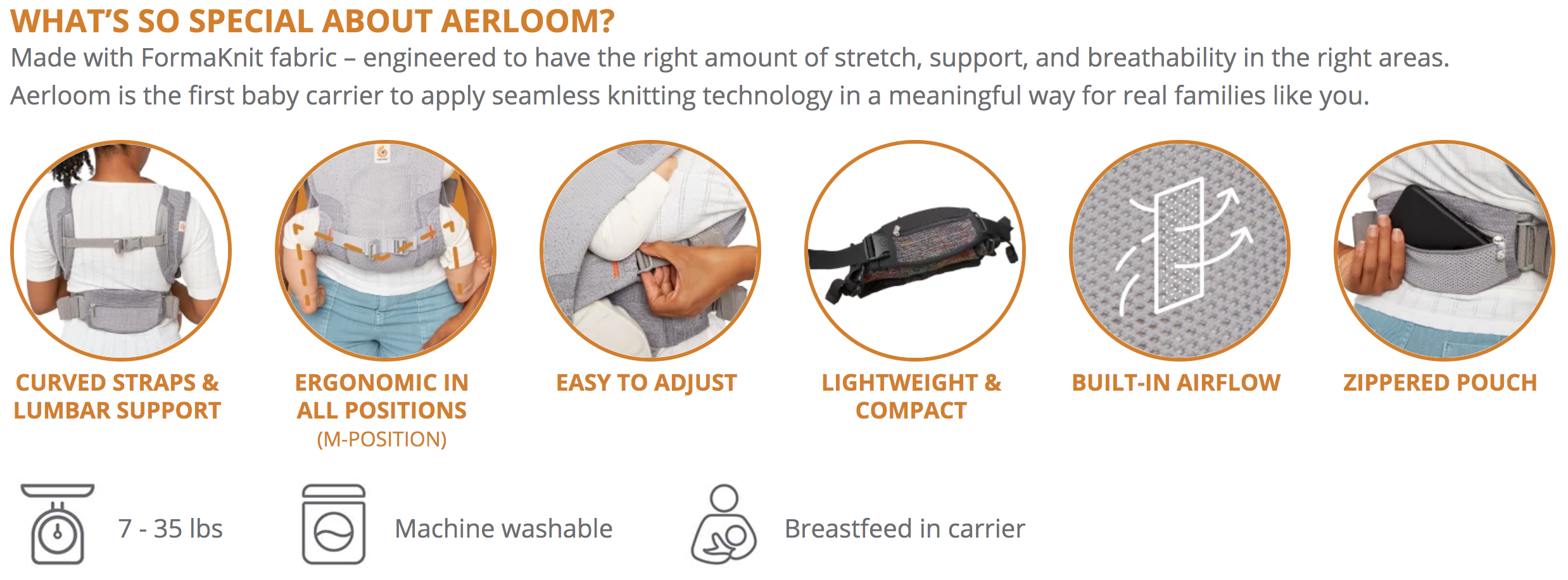 Aerloom Baby Carrier features