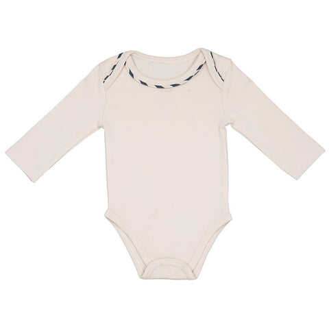Organic Cotton Bodysuit - Cream/ Navy