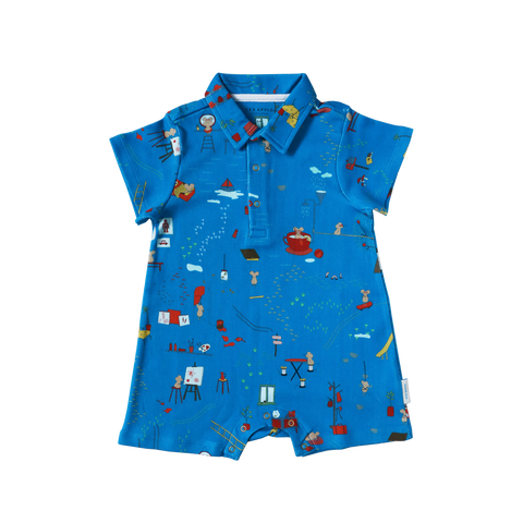 Mouse House Cobalt Collared Shorts Romper - WOWMOM