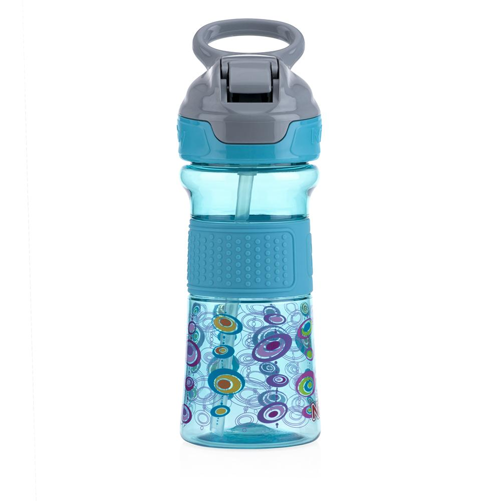 Soft Spout On the Go Sports Bottle with Push Button - Aqua - WOWMOM
