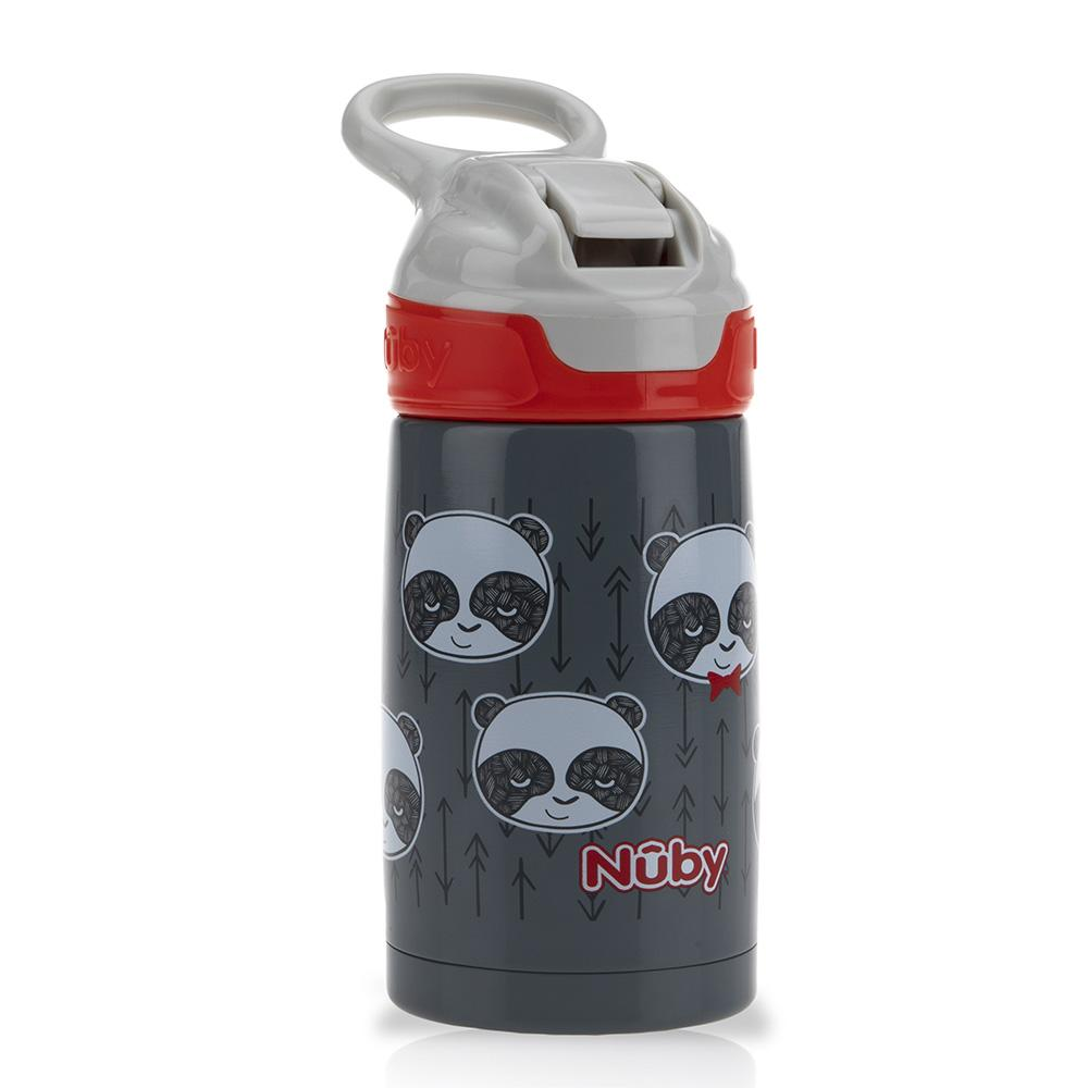 Thirsty Kids Printed Stainless Steel 10oz / 300ml No Spill Flip-It Reflex Push Button Soft Spout On the Go Cup - Pandas - WOWMOM