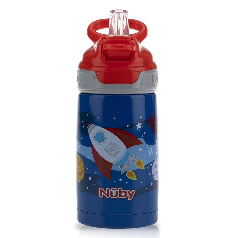 Thirsty Kids Printed Stainless Steel 10oz / 300ml No Spill Flip-It Reflex Push Button Soft Spout On the Go Cup - Rocket - WOWMOM