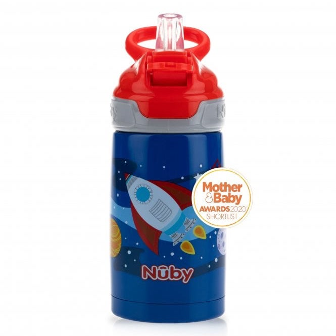 Nuby Stainless Steel Thirsty Kids Water Bottle - 10 oz