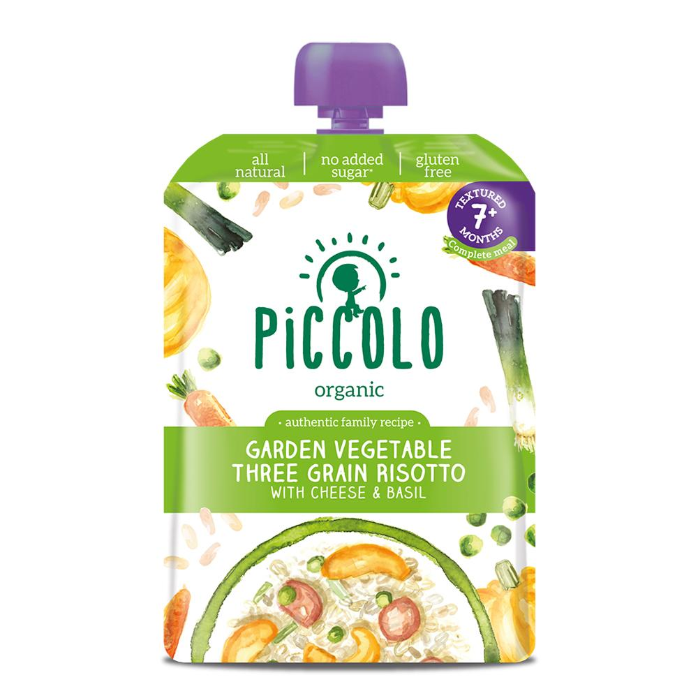 Piccolo Three Grain Vegetable Risotto with a hint of Basil (Stage 2 - 130g ) - WOWMOM