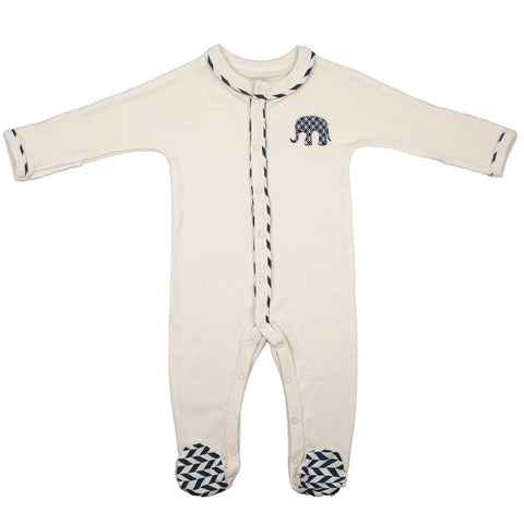 Mortimer Elephant Stripe Romper Cream/Navy - WOWMOM