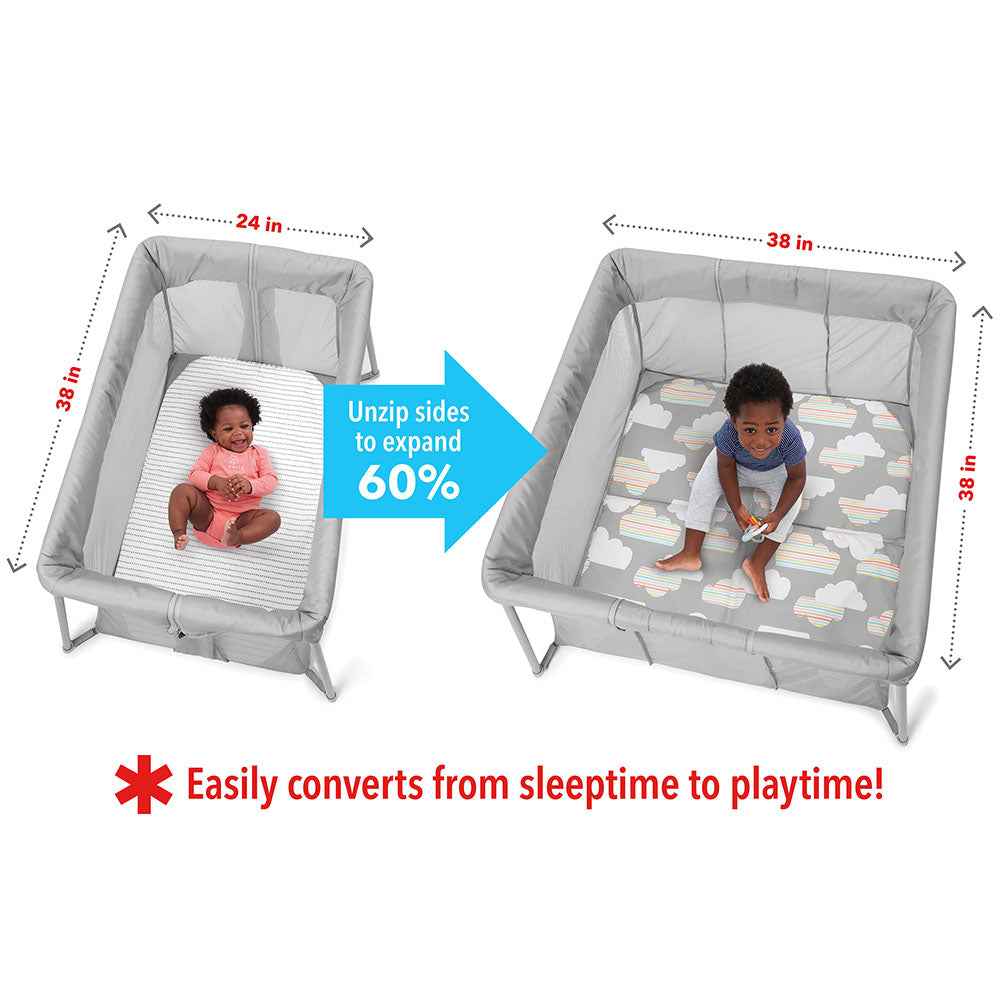 Skip Hop Play to Night Expanding Travel Crib- Grey/Clouds (2)