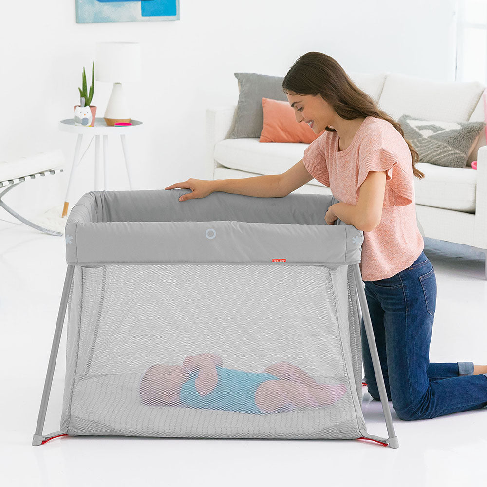 Skip Hop Play to Night Expanding Travel Crib- Grey/Clouds (3)