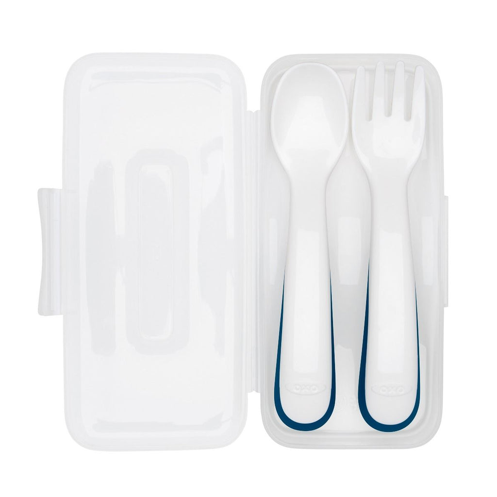 OXO Tot On-The-Go Plastic Fork & Spoon Set With Travel Case