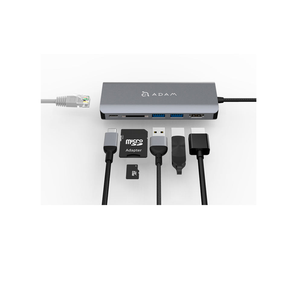 Adam elements USB-C a USB 3.1 x 2, USB-C x 1, HDMI, RJ45, SD
