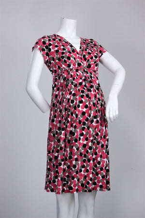 Motherhood - Button Up Polka Dot Tie Belt Dress - L