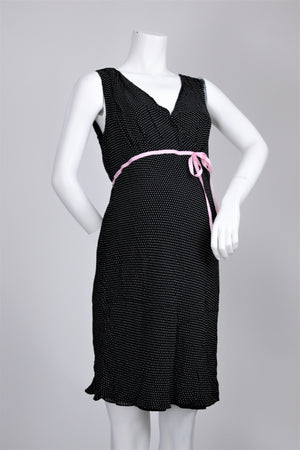 Motherhood - Ribbon Empire Waist Detail Polka Dot Dress - M