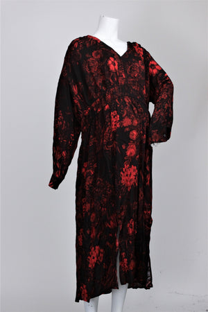 H&M - Floral Print Long Sleeve Creped Dress - XXL