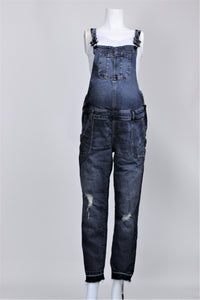 Indigo Blue - Side Panel Let Down Hem Overalls - L