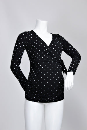 Old Navy - Polka Dot Tie Front Long Sleeve Top - XS