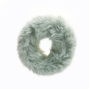 Green Fur Scrunchie - piqinita
