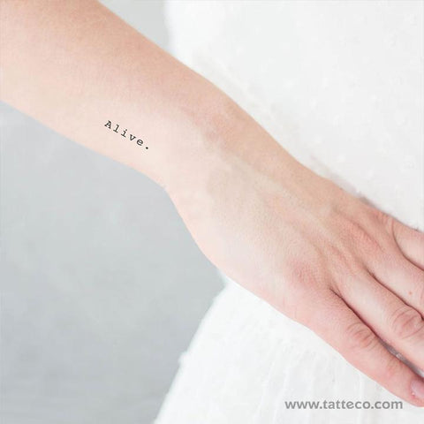 "Minimalist typewriter font ""Alive."" eco-friendly temporary tattoo."