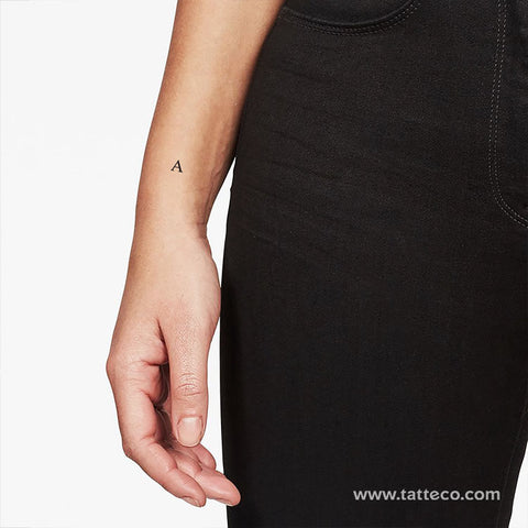 A Serif Capital Letter Temporary Tattoo - Set of 3