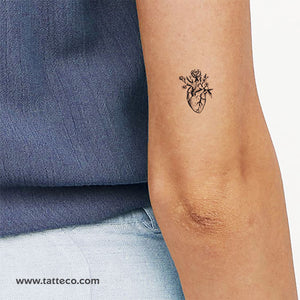 Anatomical Heart With Flowers Temporary Tattoo - Set of 3