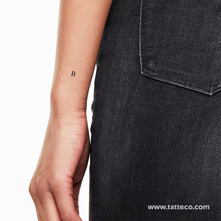 B Serif Capital Letter Temporary Tattoo - Set of 3