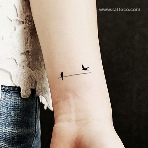 Minimalist Birds On A Wire Temporary Tattoo - Set of 3