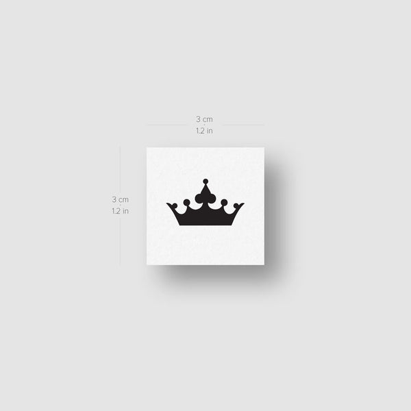 Minimalist Black Crown Temporary Tattoo - Set of 3