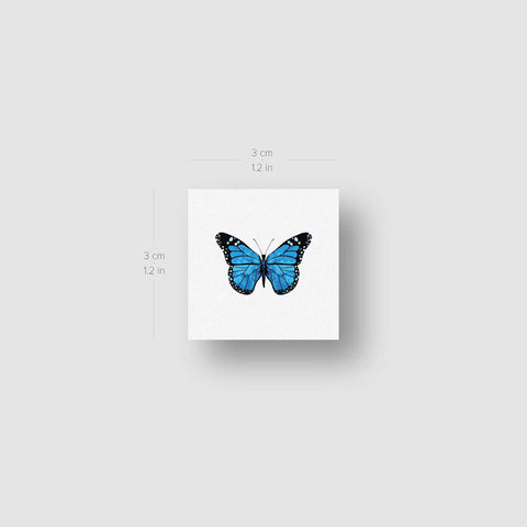 Blue Butterfly Temporary Tattoo - Set of 3