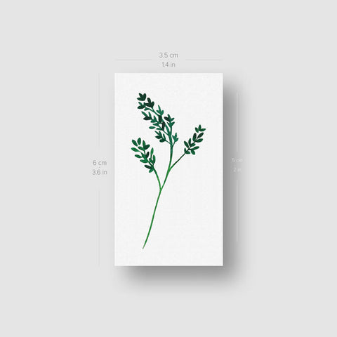 Green Branch Temporary Tattoo by Zihee - Set of 3