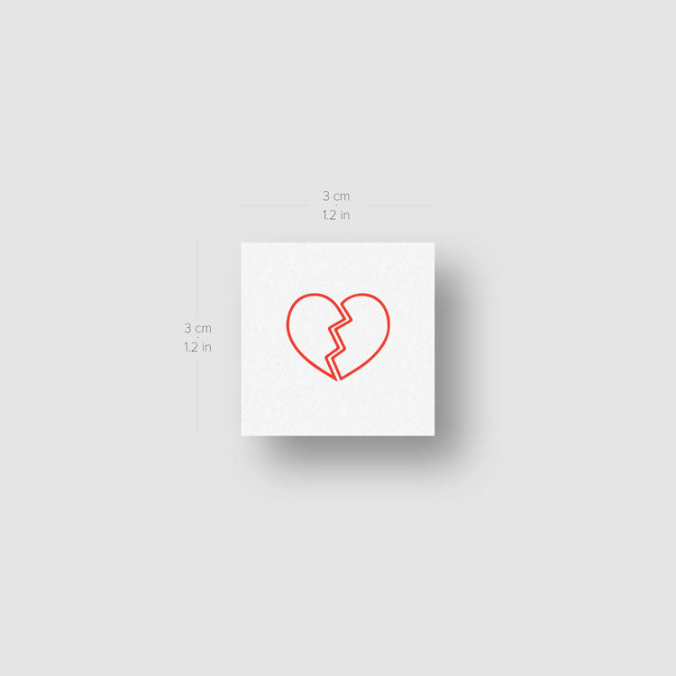 Red Broken Heart Temporary Tattoo - Set of 3