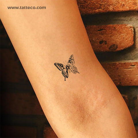 Small Half Flower Half Butterfly Temporary Tattoo - Set of 3